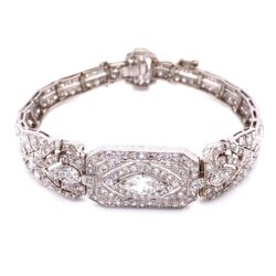 "Closeup photo of Platinum Art Deco .65ct + 8.50tcw Diamond Bracelet 27g, 7.5"""