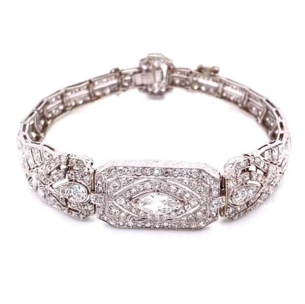 Closeup photo of Platinum Art Deco .65ct + 8.50tcw Diamond Bracelet 27g, 7.5""