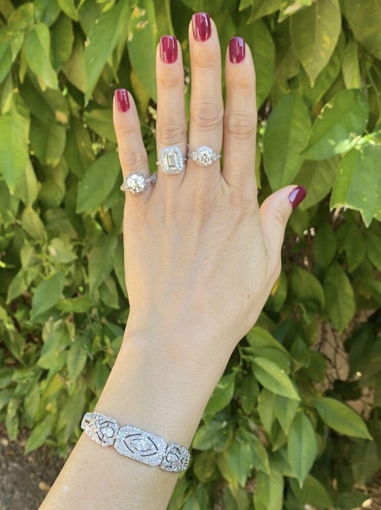 "Image 2 for Platinum Art Deco .65ct + 8.50tcw Diamond Bracelet 27g, 7.5"""