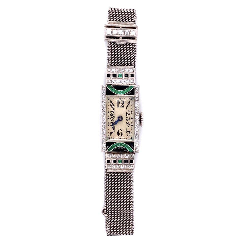 Platinum Art Deco Diamond Watch with Emeralds & Onyx 29.3g