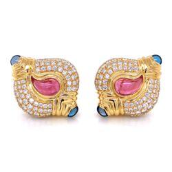 "Closeup photo of 18K YG CASMIR Big Earrings 7tcw Diamonds, 4.50tcw Pink & Blue Tourmaline 33.2g, 1.5"""