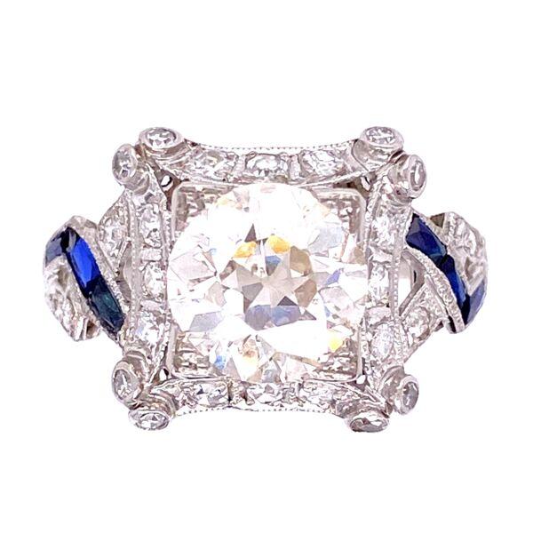 Closeup photo of Platinum 2.16ct OEC Diamond Ring with Sapphires, s8