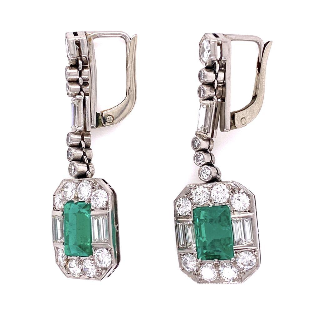 Image 2 for Platinum 4tcw Emerald & 3tcw Diamond Earrings GIA, c1950's