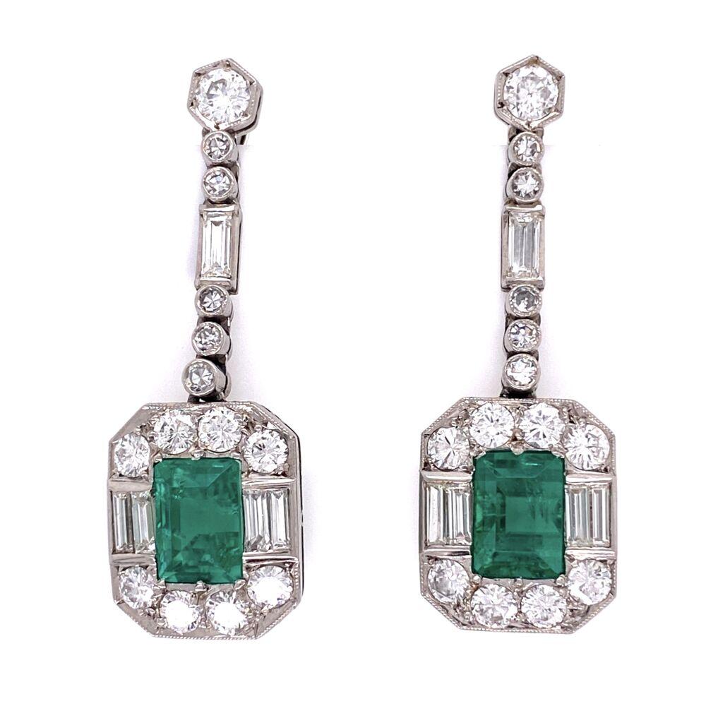 1950's Platinum Emerald & Diamond Earrings