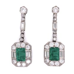 Closeup photo of Platinum 4tcw Emerald & 3tcw Diamond Earrings GIA, c1950's