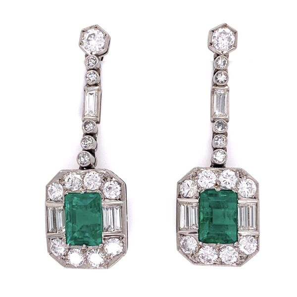 Closeup photo of 1950's Platinum Emerald & Diamond Earrings