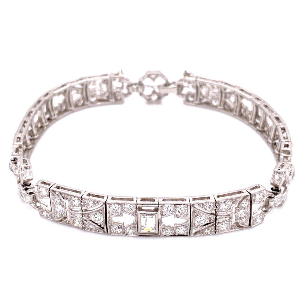 "Platinum Art Deco 4.75tcw Diamond Bracelet 21.5g, 7"""
