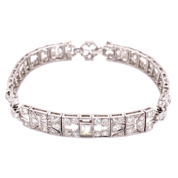Closeup photo of Platinum Art Deco 4.75tcw Diamond Bracelet 21.5g, 7""