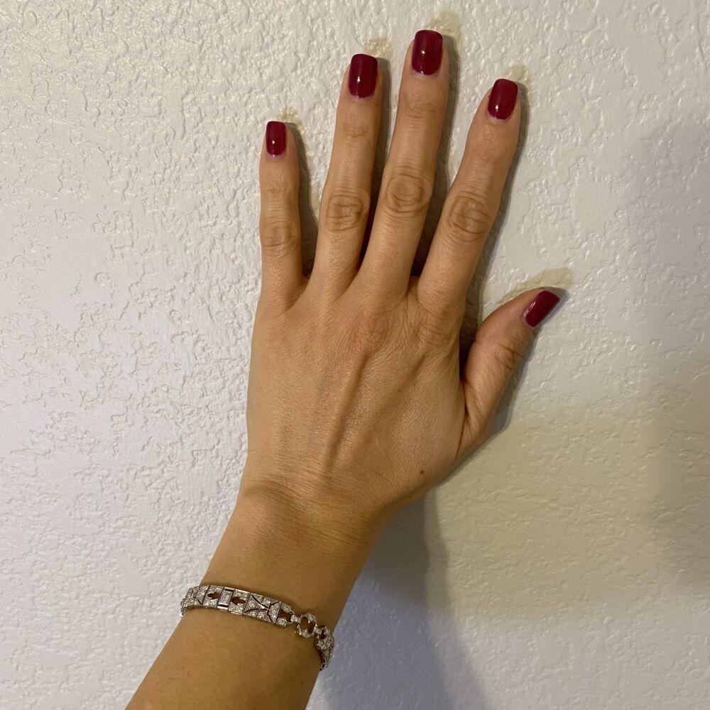 "Image 2 for Platinum Art Deco 4.75tcw Diamond Bracelet 21.5g, 7"""