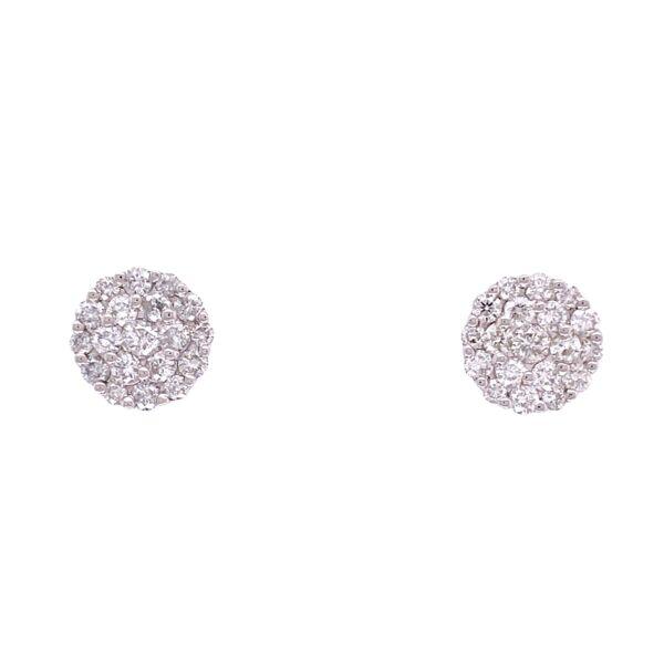 Closeup photo of 18K WG 1.18tcw Diamond Cluster Stud Earrings 9mm Diameter