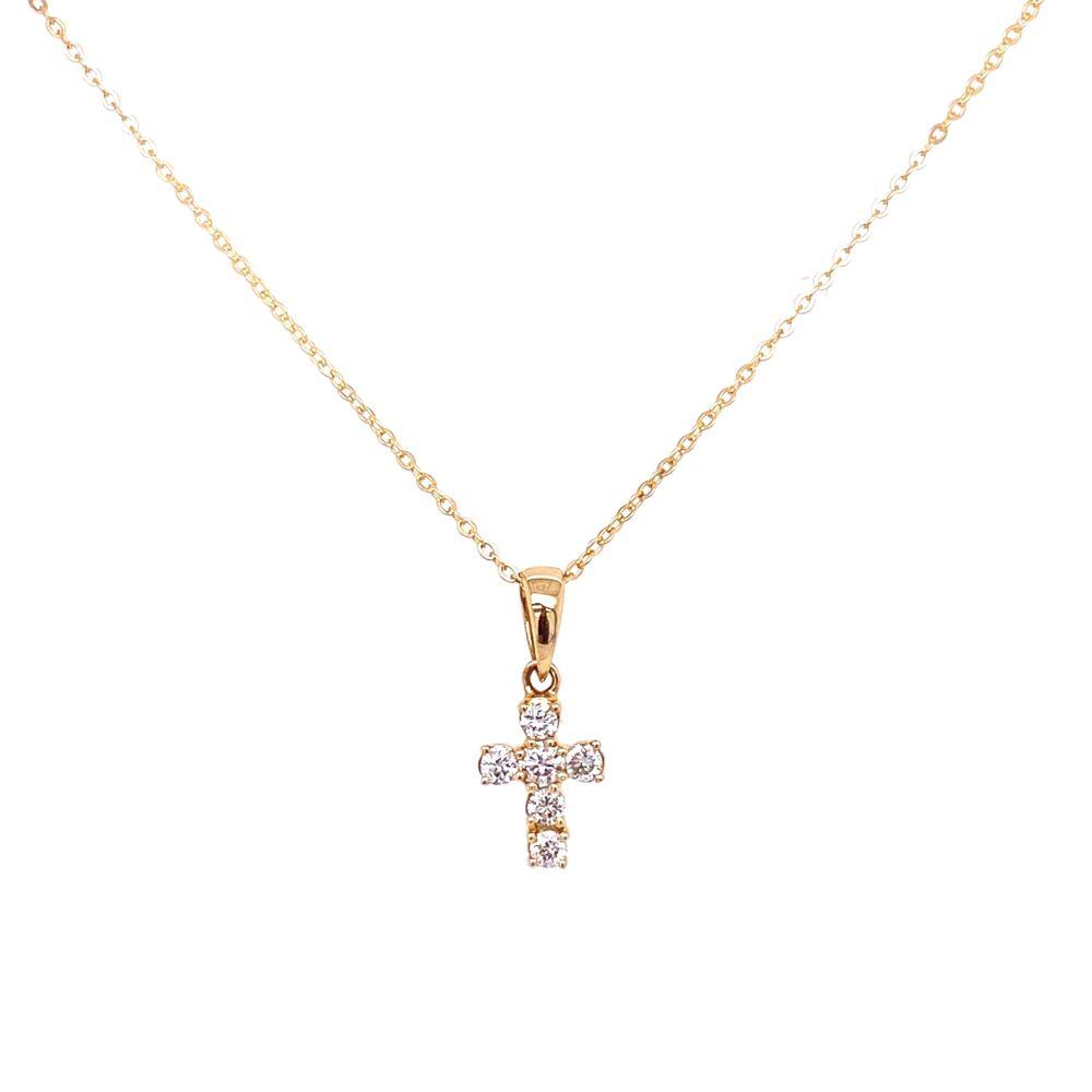 14K Yellow Gold Tiny Diamond Cross Necklace .11tcw, 1.6g