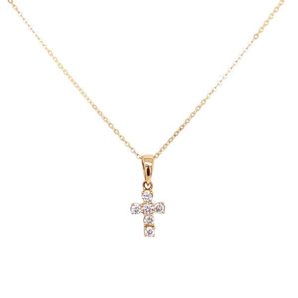 Closeup photo of 14K Yellow Gold Tiny Diamond Cross Necklace .11tcw, 1.6g