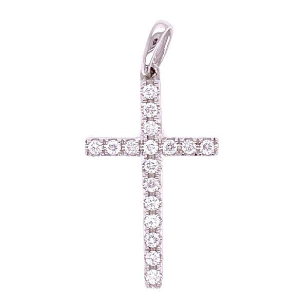 "Closeup photo of 18K WG Diamond Cross Pendant .23tcw, 1.1g 1.2"" Tall"