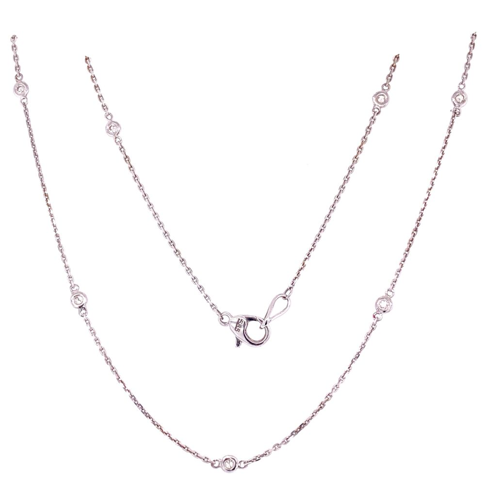 "14K WG Diamonds by the Yard Necklace Chain 14=.29tcw, 3.5g, 24"" Long"