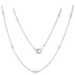"Closeup photo of 14K WG Diamonds by the Yard Necklace Chain 14=.29tcw, 3.5g, 24"" Long"
