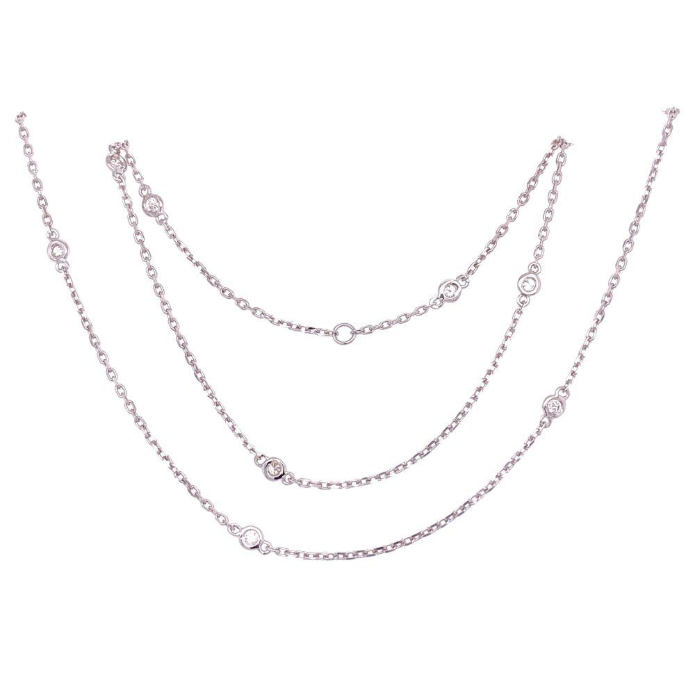 """14K WG Diamonds by the Yard Necklace Chain 10=.25tcw, 2.6g, 18"""""""