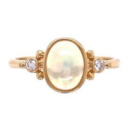 Closeup photo of 14K YG .82ct Opal & .06tcw Diamond Ring 2.3g, s6.25