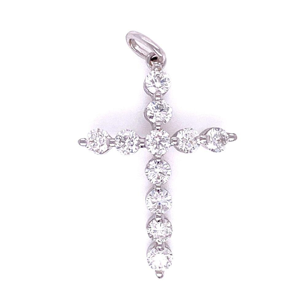18K WG Shared Prong Diamond Cross Pendant .65tcw, 1.4g