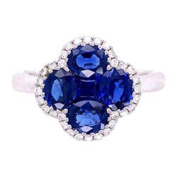 Closeup photo of 18K WG 2.07tcw Sapphire Cluster & .15tcw Diamond Ring 4.4g, s6.5