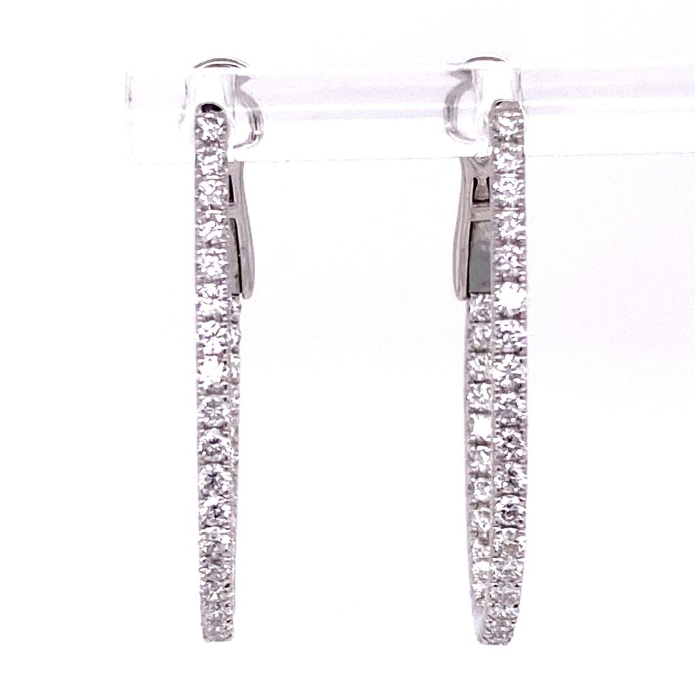 """Image 2 for 18K WG Oval Pave Inside Out Diamond Hoop Earrings 1.26tcw 5.0g, 1.5"""" Tall"""