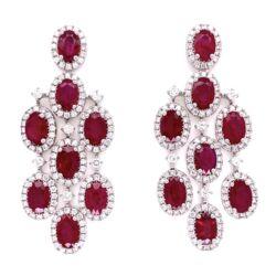 """Closeup photo of 14K WG Ruby & Diamond Chandelier Earrings 11.2g, 1.75"""" Tall"""