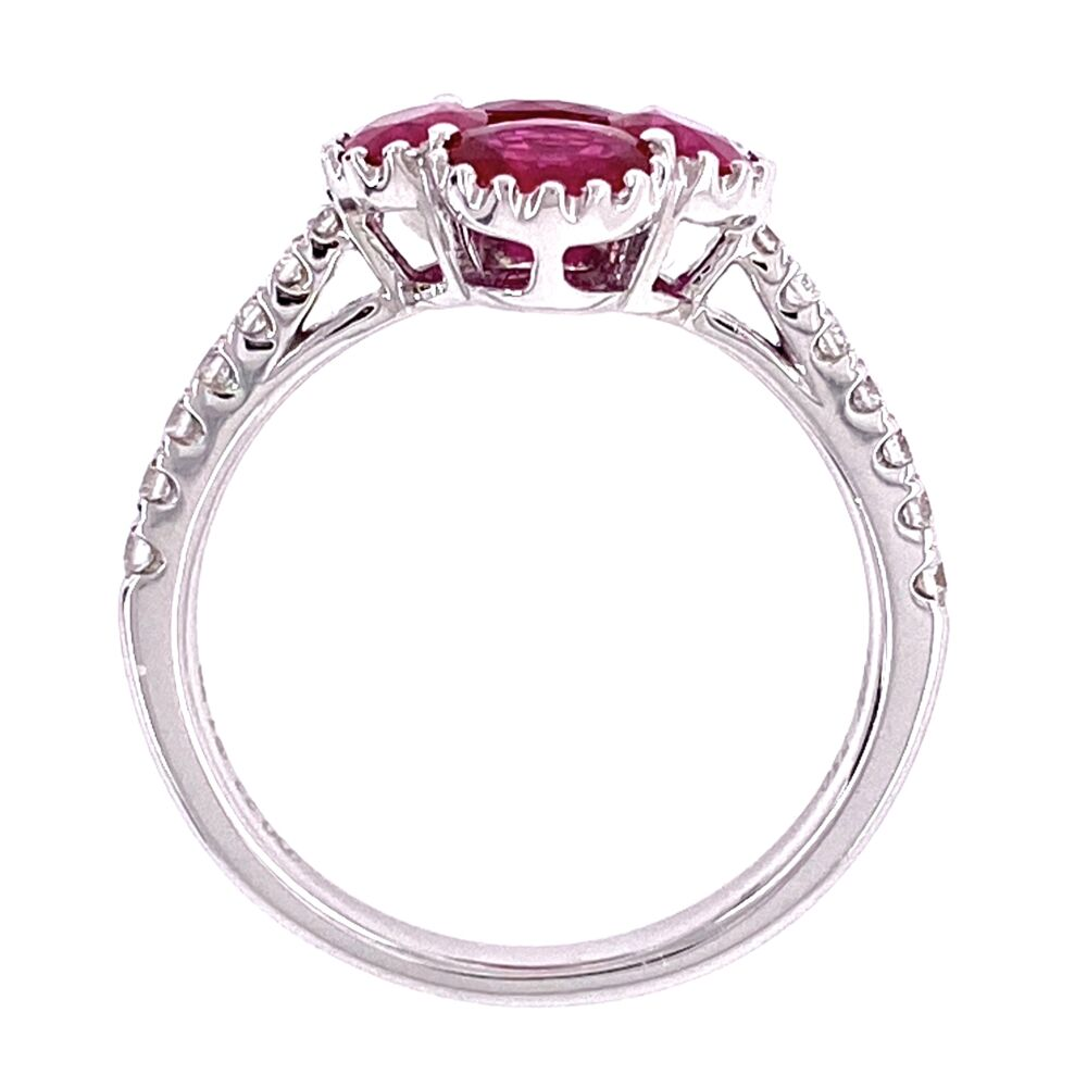 Image 2 for 18K WG 1.79tcw Ruby Cluster & .22tcw Diamond Ring 3.6g, s6.5
