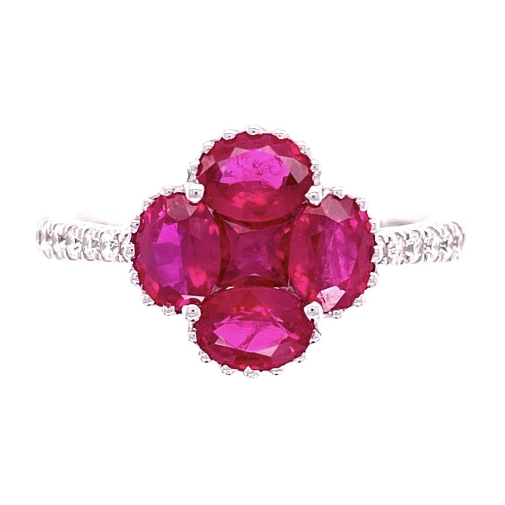 18K WG 1.79tcw Ruby Cluster & .22tcw Diamond Ring 3.6g, s6.5