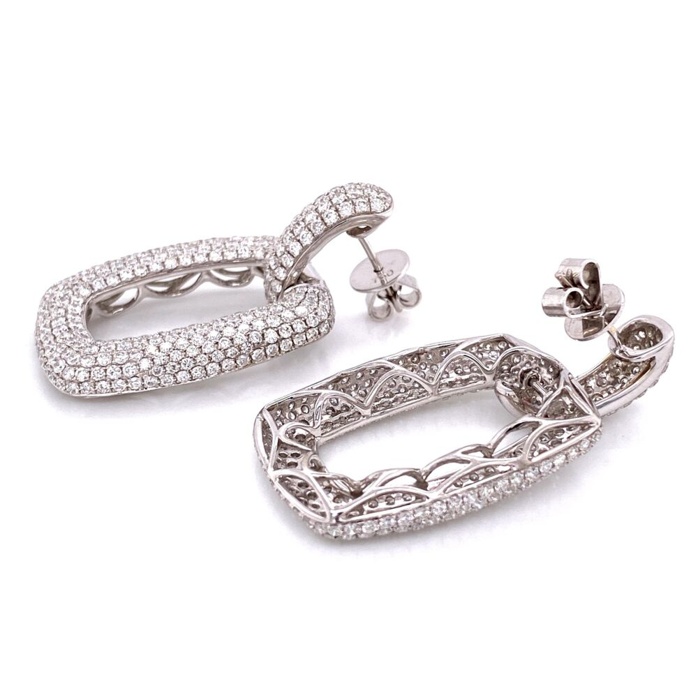 "Image 4 for 18K WG Pave Diamond Open Link Earrings 6.52tcw, 15.7g, 1.7"" Tall"