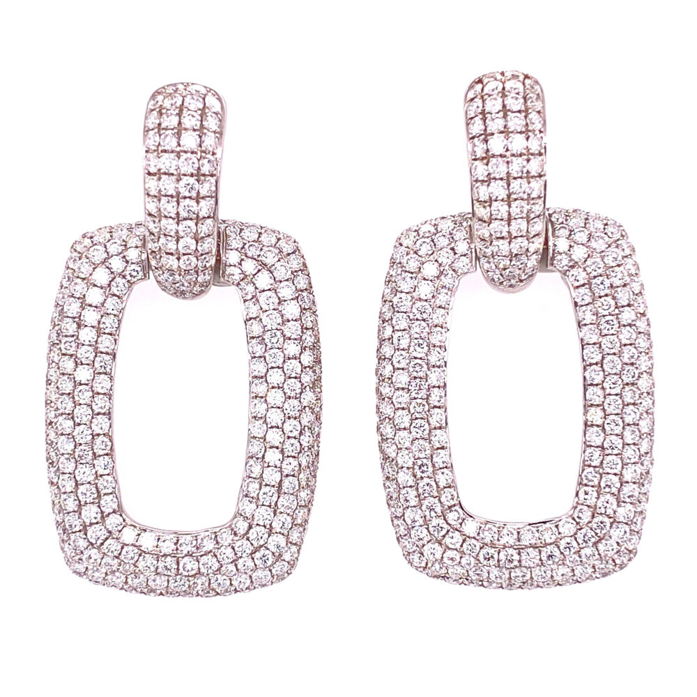 "18K WG Pave Diamond Open Link Earrings 6.52tcw, 15.7g, 1.7"" Tall"