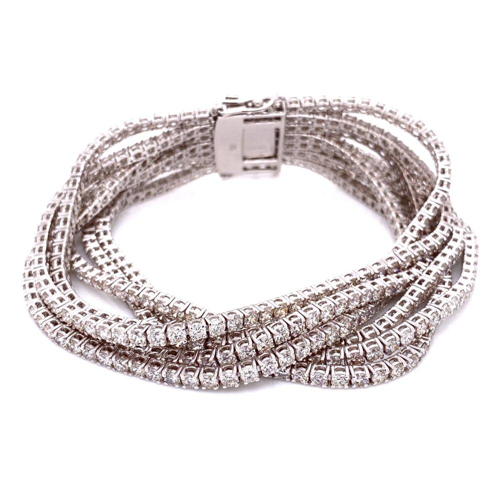 """14K WG 7 Strand Diamond Tennis Bracelet 25.55tcw, 52.2g, 7"""" Long"""