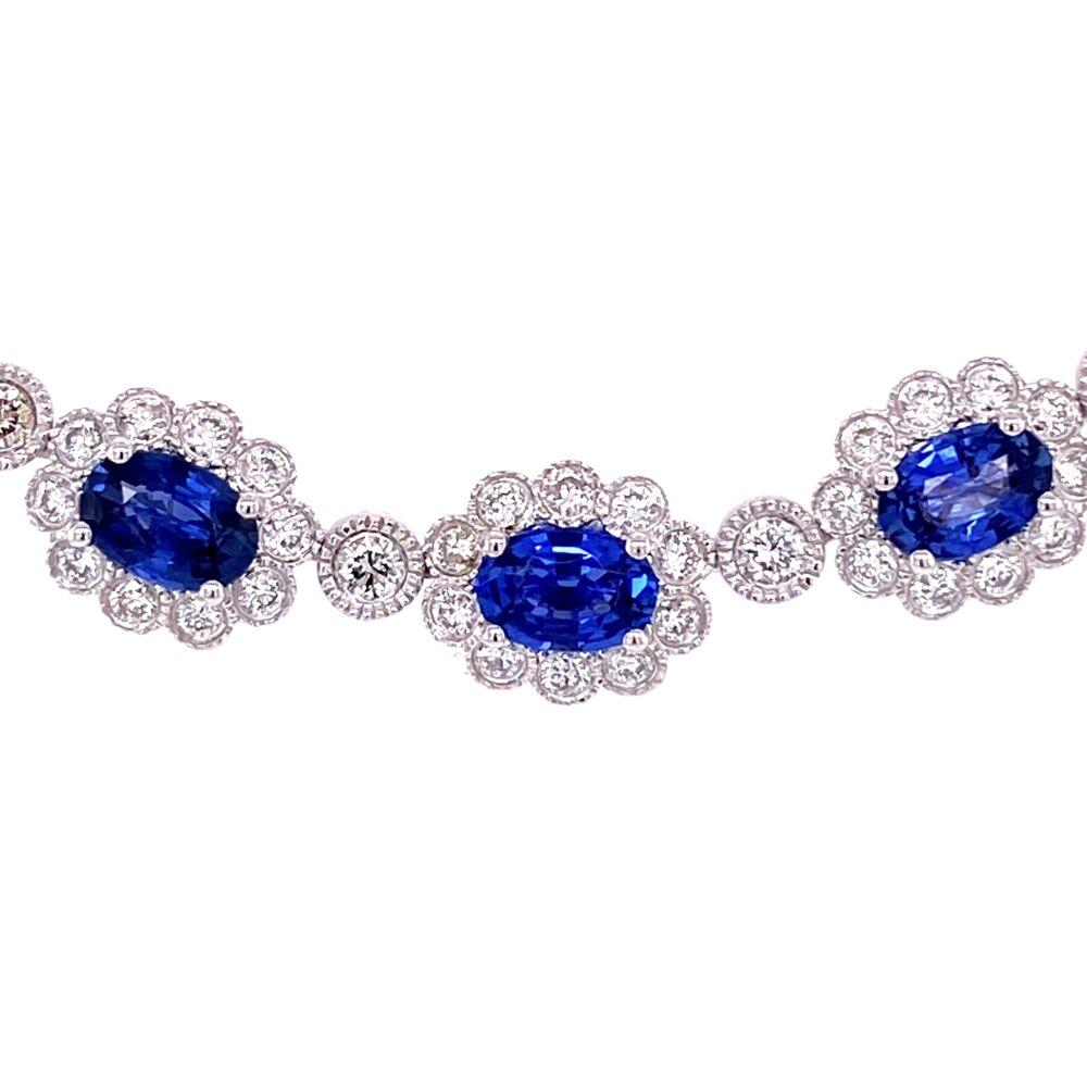 "Image 2 for Platinum 19.39tcw Sapphire & 8.70tcw Diamond Necklace 56.1g, 16"""