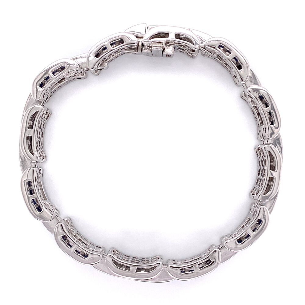 "Image 2 for Platinum 16.83tcw Sapphire & 5.74tcw Diamond Link Bracelet 67.2g, 7"" Long"