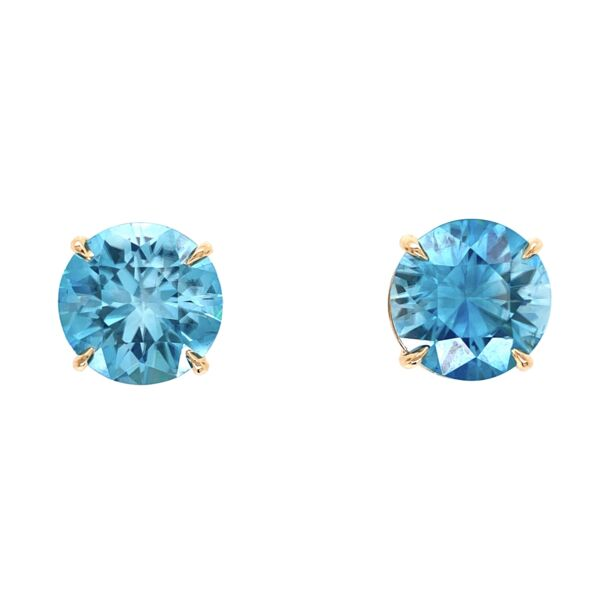 Closeup photo of 14K YG Round Cambodian Blue Zircon Stud Earrings 17.67tcw, 12.50mm