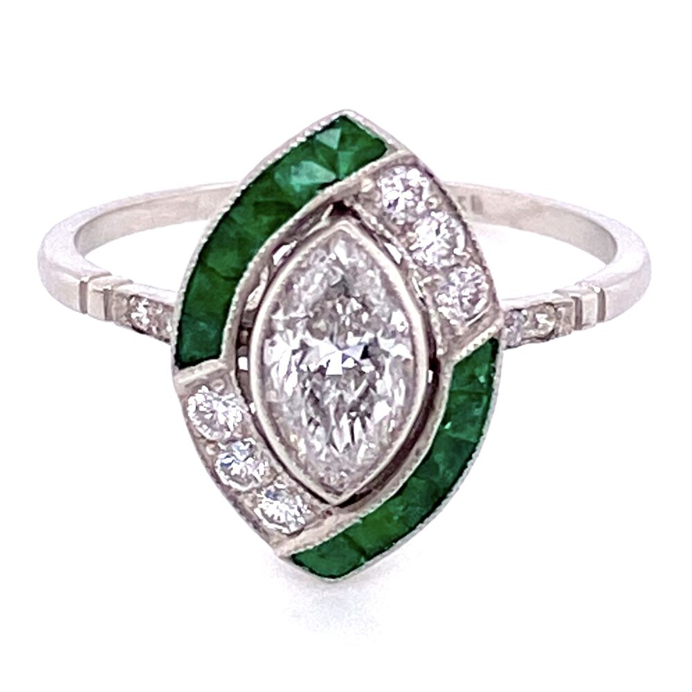 Platinum .73ct Marquis Diamond & .72tcw Emerald Ring with .26tcw Diamonds, s7
