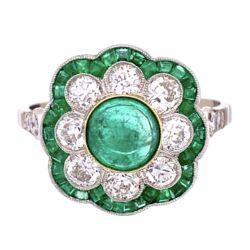 Closeup photo of Platinum 1.69tcw Emeralds & 1.00tcw Diamonds Ring, s7.5