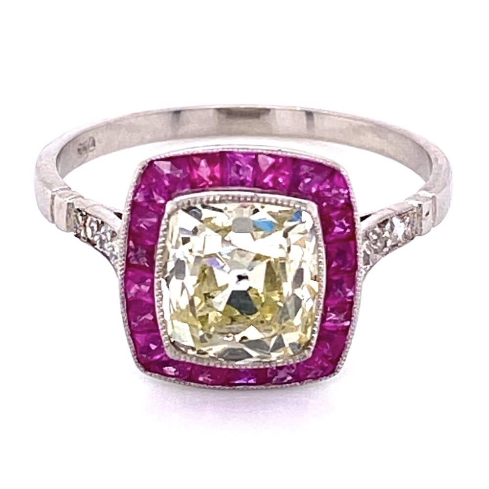 Image 2 for Platinum 1.96ct Old Mine Diamond & .68tcw Ruby Halo Ring, s7.5