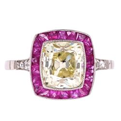 Closeup photo of Platinum 1.96ct Old Mine Diamond & .68tcw Ruby Halo Ring, s7.5