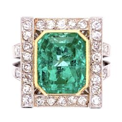 Closeup photo of Platinum 18K YG Retro 4.00ct Emerald & .70tcw Diamond Ring, s5