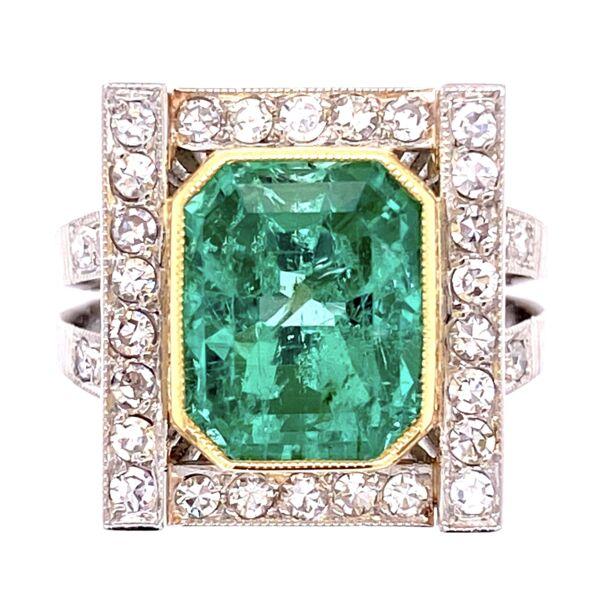 Closeup photo of Platinum 18K YG Retro 4.00ct Emerald & .70tcw Diamond Ring, s5