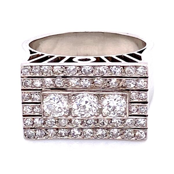 Closeup photo of Platinum Retro 1.10tcw Pave Square Ring, s7