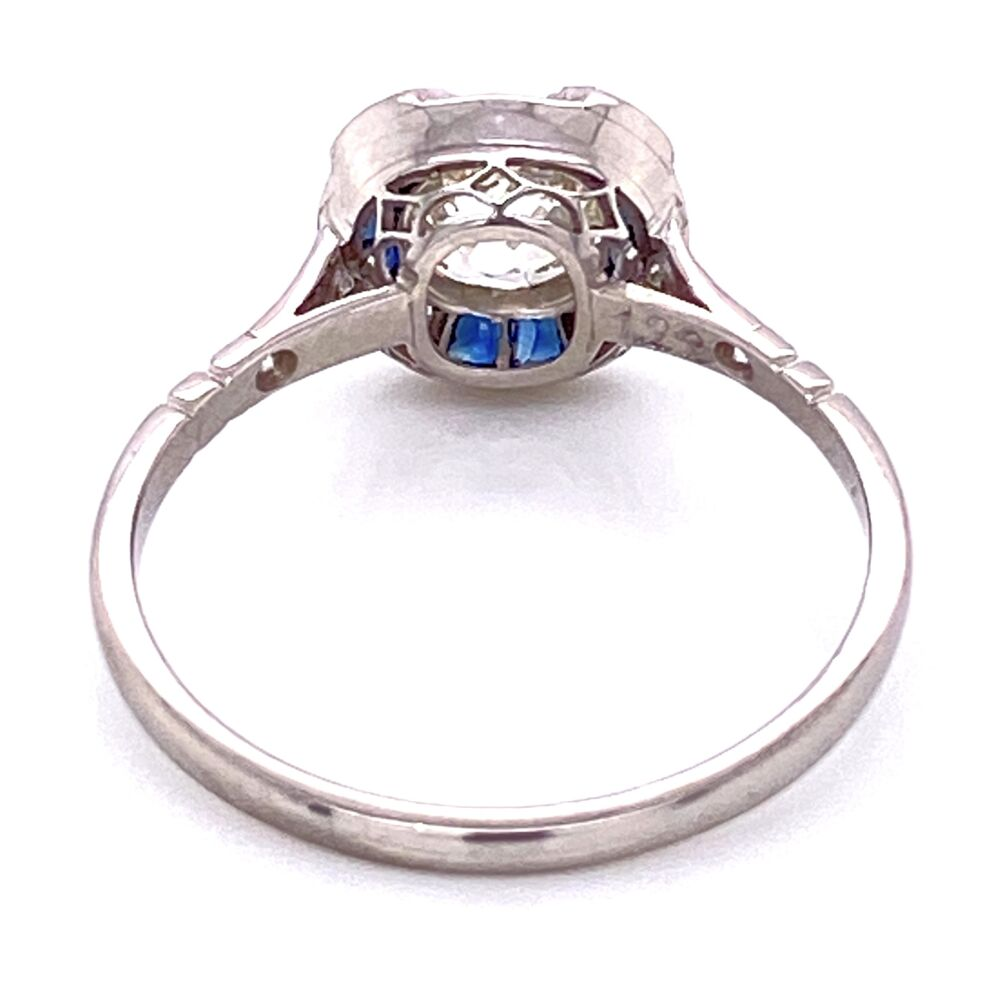 Platinum 1.22ct Old Mine Diamond & .44tcw Sapphire Ring, s7.5