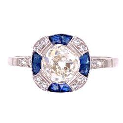 Closeup photo of Platinum 1.22ct Old Mine Diamond & .44tcw Sapphire Ring, s7.5