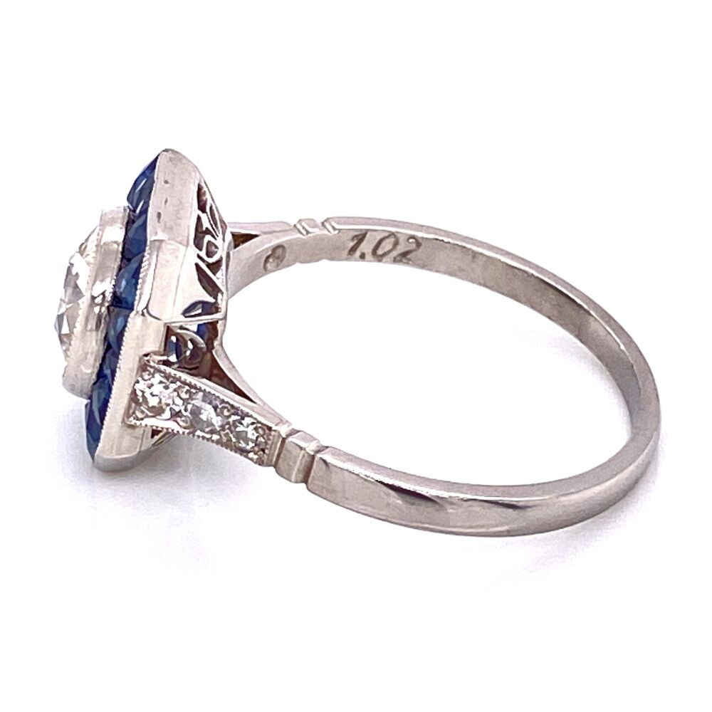 Image 2 for Platinum 1.02ct Old European Cut Diamond & French Cut Sapphire Halo Ring, s7