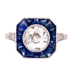 Closeup photo of Platinum 1.02ct Old European Cut Diamond & French Cut Sapphire Halo Ring, s7