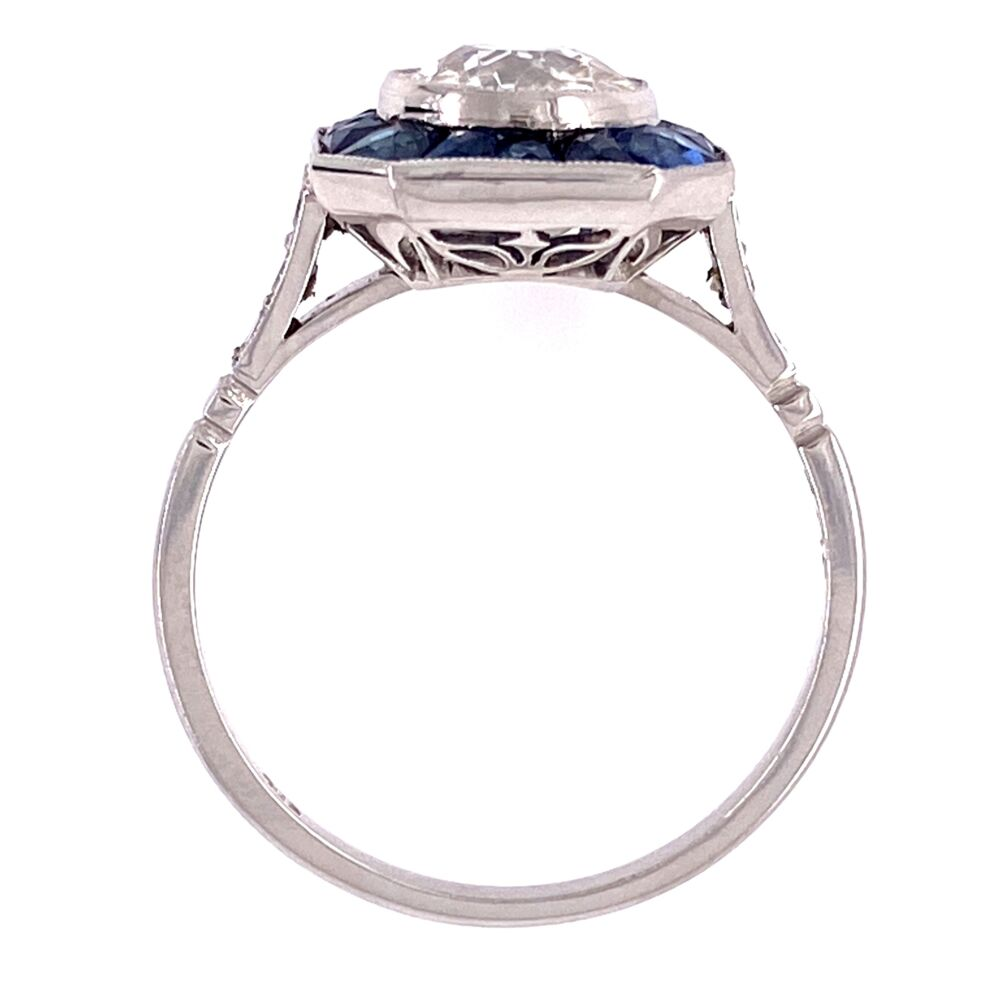 Platinum 1.02ct Old European Cut Diamond & French Cut Sapphire Halo Ring, s7