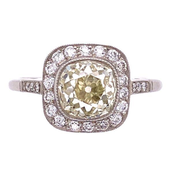 Closeup photo of Platinum 2.07ct Old Mine Diamond Ring with .32tcw Side Diamonds, s7.5