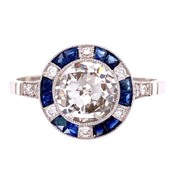 Closeup photo of Platinum .98ct Round Diamond, .36tcw Sapphire & .18tcw Diamond Ring, s7.5