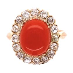 Closeup photo of 18K YG Victorian 4ct Coral Cabochon & 1.40tcw Diamond Ring, s7.25
