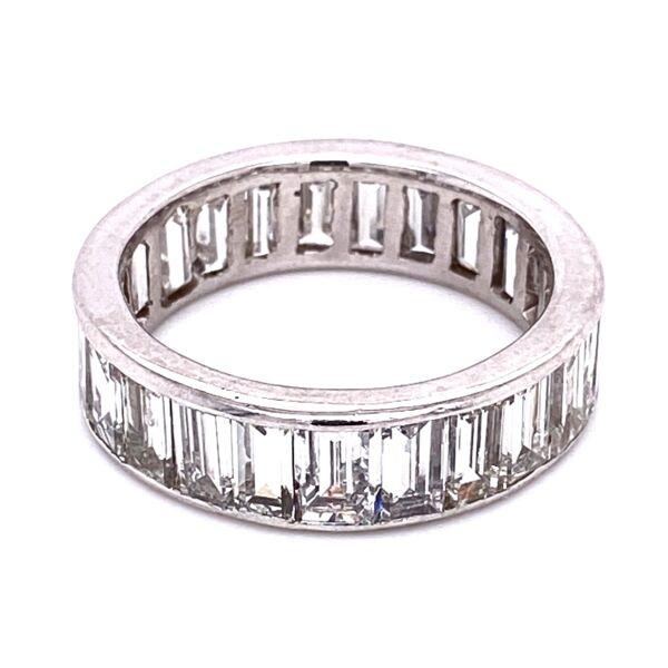 Closeup photo of Platinum Baguette Diamond Eternity Band Ring 5.50tcw, s8