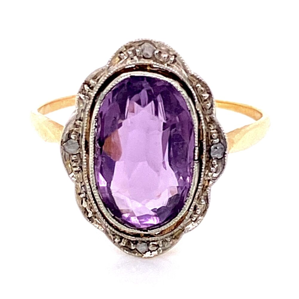 Image 2 for 18K YG Edwardian 4ct Amethyst & .03tcw Diamond Ring, s8